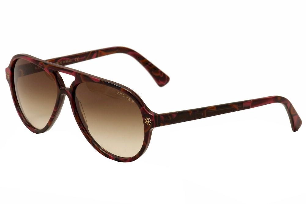 Image of Velvet Eyewear Women's Ava V015 V/015 Retro Pilot Sunglasses - Red - Lens 56 Bridge 15 Temple 135mm