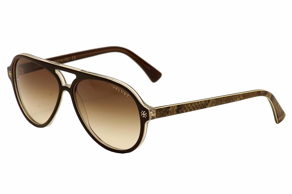 Image of Velvet Eyewear Women's Ava V015 V/015 Retro Pilot Sunglasses - Brown - Lens 56 Bridge 15 Temple 135mm
