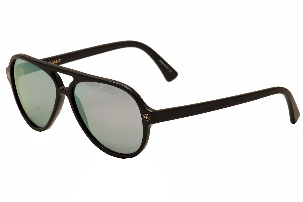 Image of Velvet Eyewear Women's Ava V015 V/015 Retro Pilot Sunglasses - Shiny Black/Gold/Grey Blue Flash - Lens 56 Bridge 15 Temple 135mm