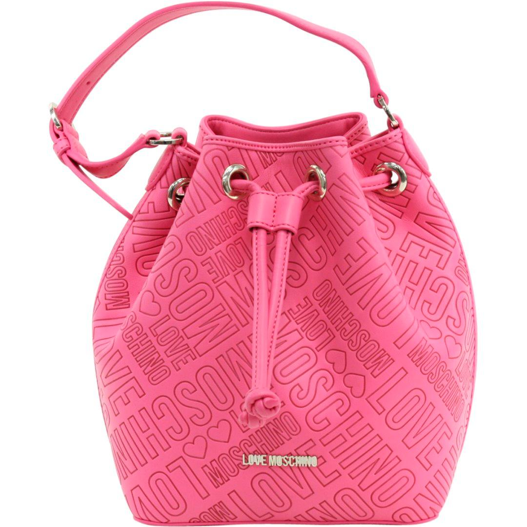Love Moschino Women's Logo Embossed Top Handle Bucket Handbag