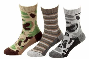 Jefferies Toddler/Little Boy's 3-Pairs Camouflage Stripe Crew Socks UPC: