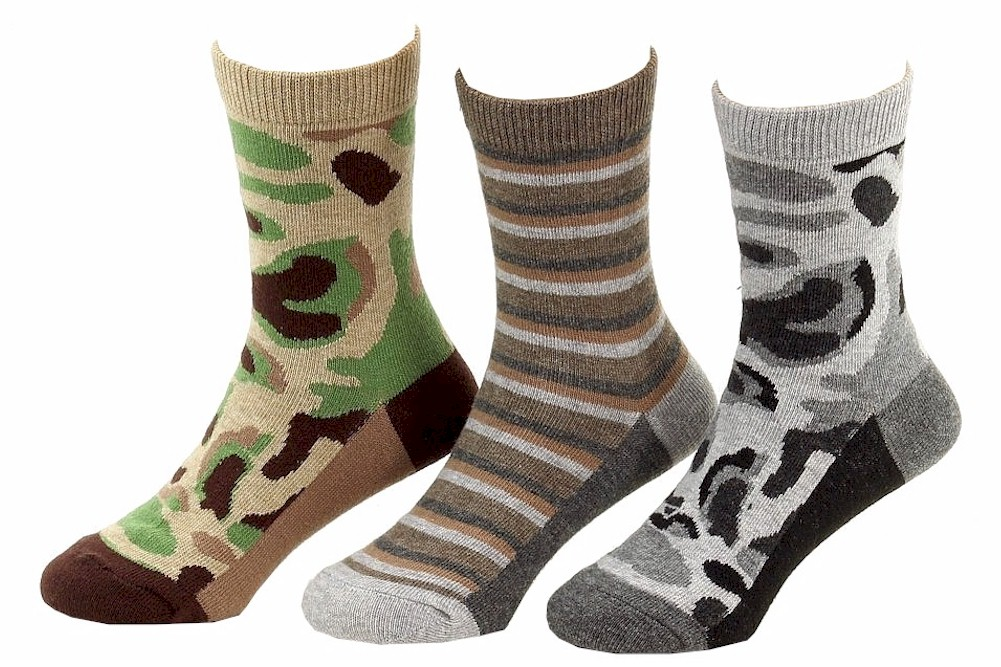 Image of Jefferies Toddler/Little Boy's 3 Pairs Camouflage Stripe Crew Socks - Brown - Small; 7 8.5 Fits Shoe 9 1 (Little Kid)