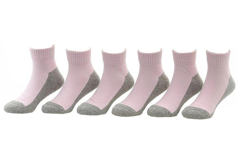 Image of Jefferies Toddler/Little/Big Girl's 6 Pairs Seamless Quarter Cushion Socks - Pink - 5 6.5 Fits Shoe 4 8.5 (Toddler)