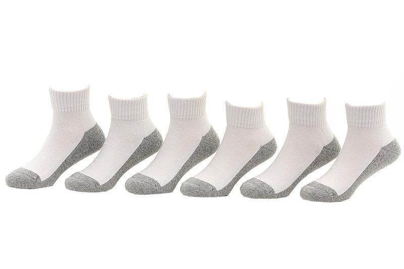 Image of Jefferies Toddler/Little/Big Boy's 6 Pairs Seamless Quarter Cushion Socks - White - 5 6.5 Fits Shoe 4 8.5 (Toddler)