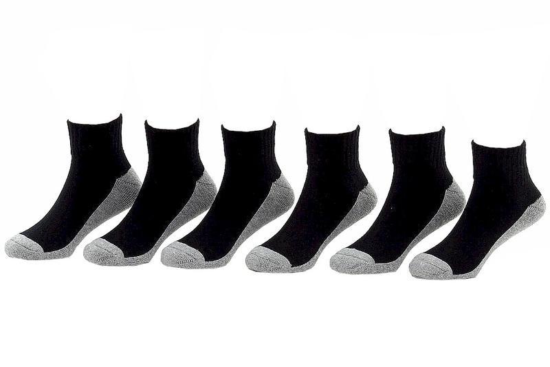 Image of Jefferies Toddler/Little/Big Boy's 6 Pairs Seamless Quarter Cushion Socks - Black - 5 6.5 Fits Shoe 4 8.5 (Toddler)