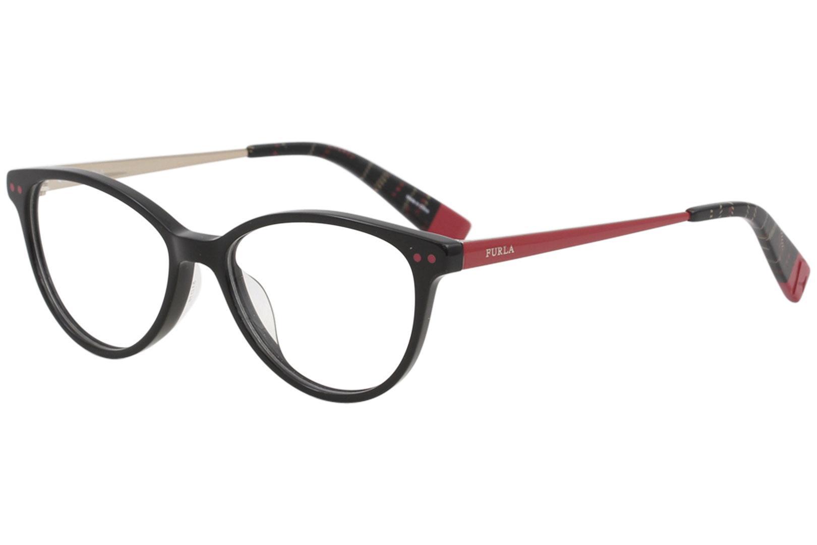 Image of Furla Women's Eyeglasses VFU083 VFU/083 0700 Black Full Rim Optical Frame 51mm -  Black   0700 - Lens 51 Bridge 16 B 39 ED 56 Temple 140mm