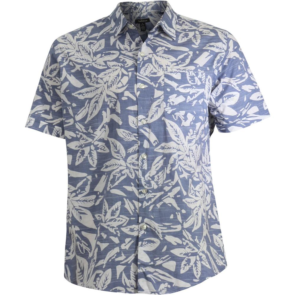 Image of Van Heusen Men's Printed White Washed Short Sleeve Button Down Shirt - Blue Jeans - Small