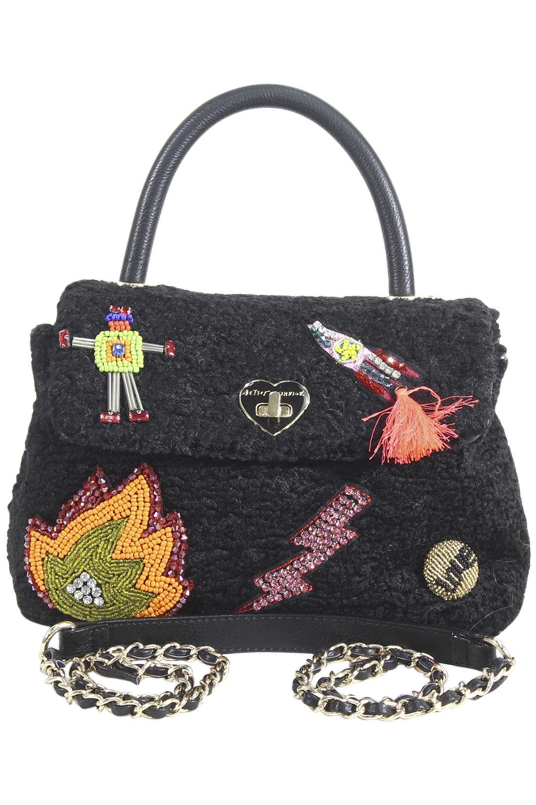 Image of Betsey Johnson Women's Curly Gurl Top Handle Crossbody Handbag - Black