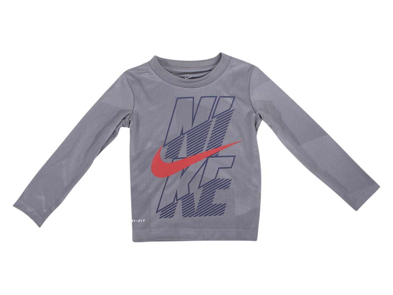Nike Toddler Boy's Dri-FIT Block Logo Long Sleeve Crew Neck T-Shirt