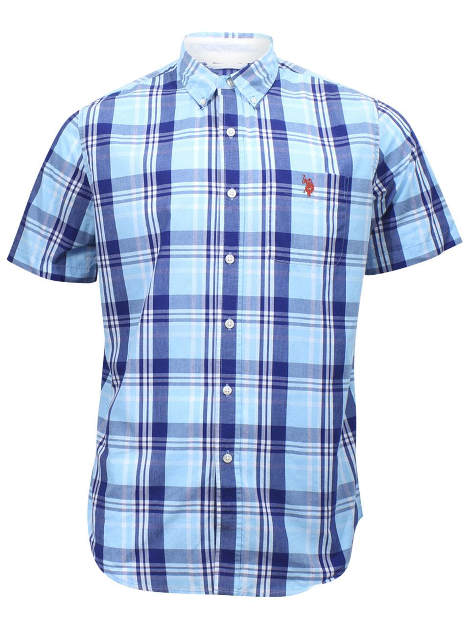 Us Polo Association Mens Short Sleeve Collar Stays Plaid Button