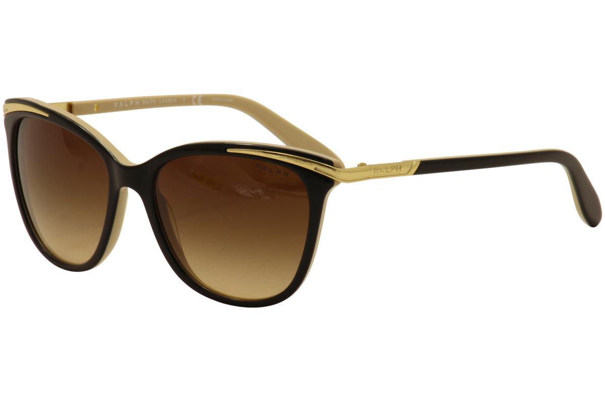 Image of Ralph By Ralph Lauren Women's RA5203 RA/5203 Fashion Cat Eye Sunglasses - Black Nude Gold/Brown Gradient   109013 - Lens 54 Bridge 16 Temple 135mm
