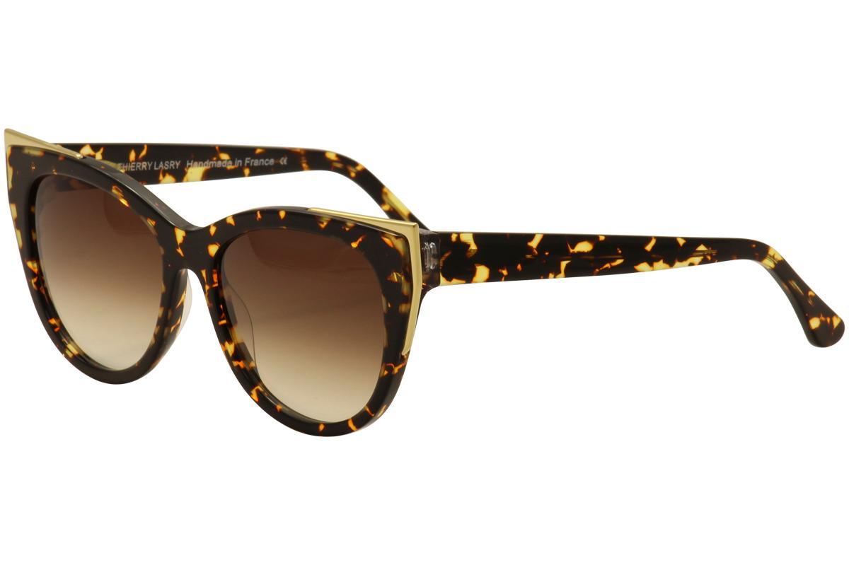 Image of Thierry Lasry Women's Epiphany Cat Eye Fashion Sunglasses - Tortoise Gold/Brown Gradient   724 - Lens 55 Bridge 17 Temple 140mm