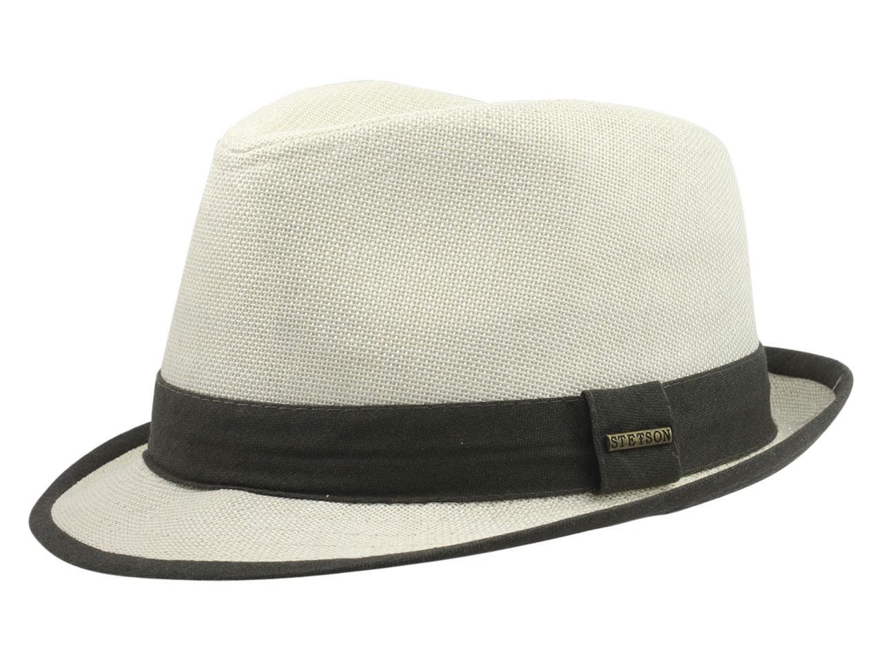 Image of Stetson Men's Contrast Trim Fedora Hat - Ivory - Large
