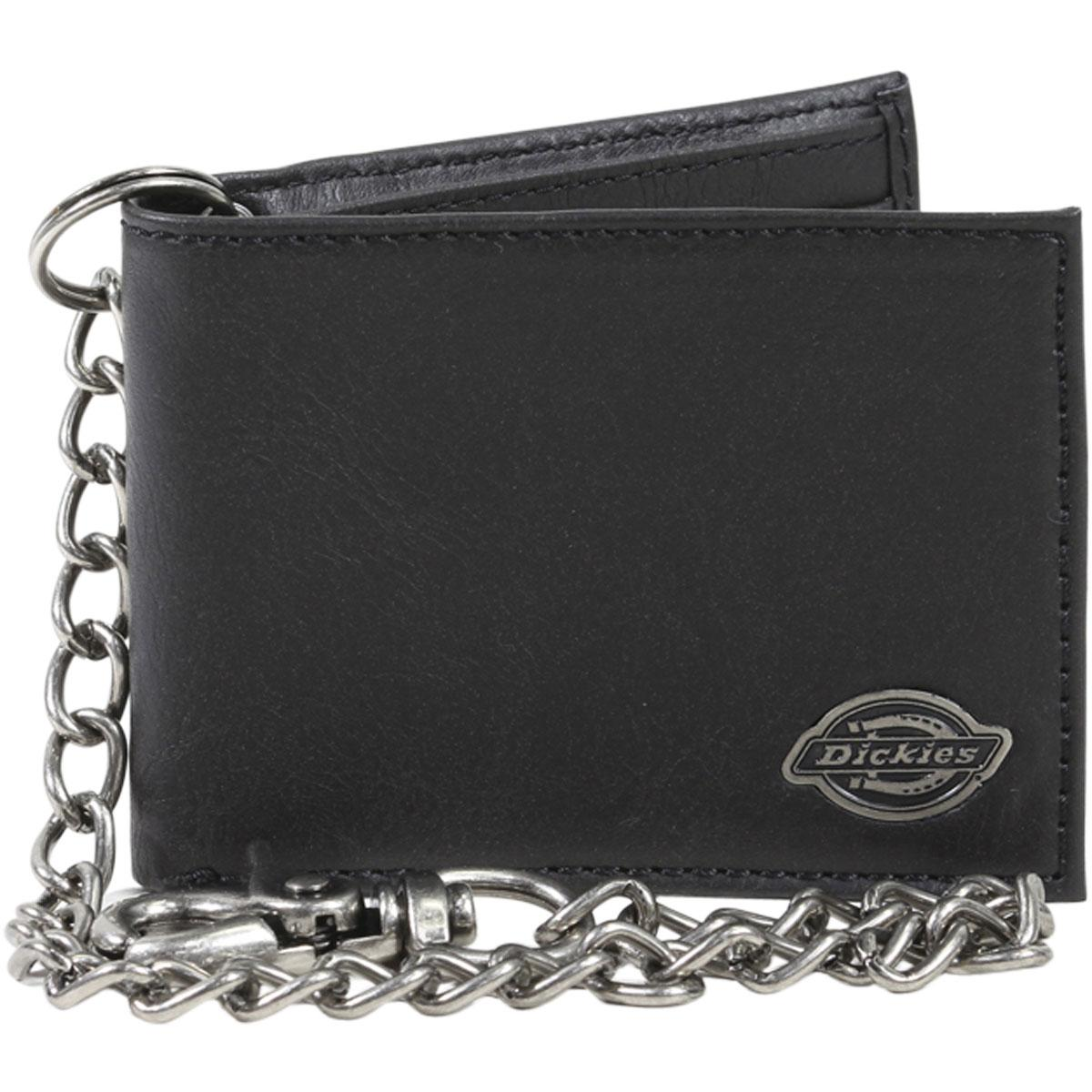 Image of Dickies Men's Bi Fold Chain Leather Wallet - Black