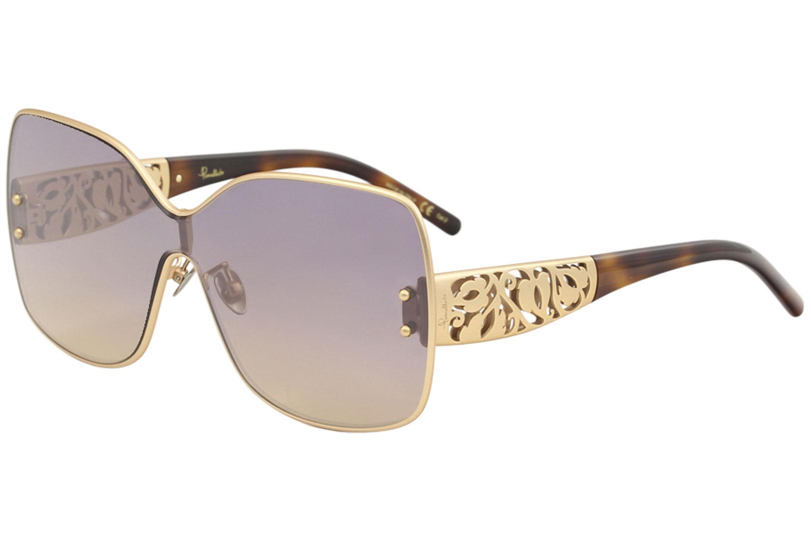 Image of Pomellato Women's PM0044S PM/0044/S Fashion Shield Sunglasses - Rose Gold Havana/Violet/Gold Gradient Bronze   001 - Lens 99 Bridge 0 Temple 145mm