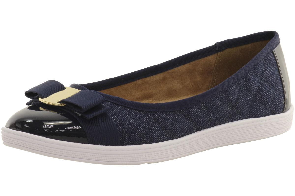 Image of Soft Style By Hush Puppies Women's Faeth Quilted Ballet Flats Shoes - Denim - 8 B(M) US