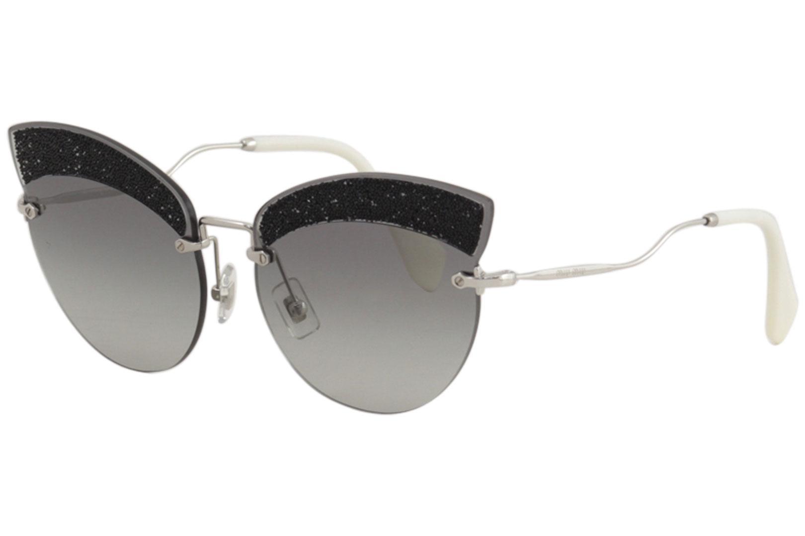 9d8dd7394a75 Details about Miu Miu Women's MU58TS MU/58/TS U983M1 Silver/Black Cateye  Sunglasses 65mm