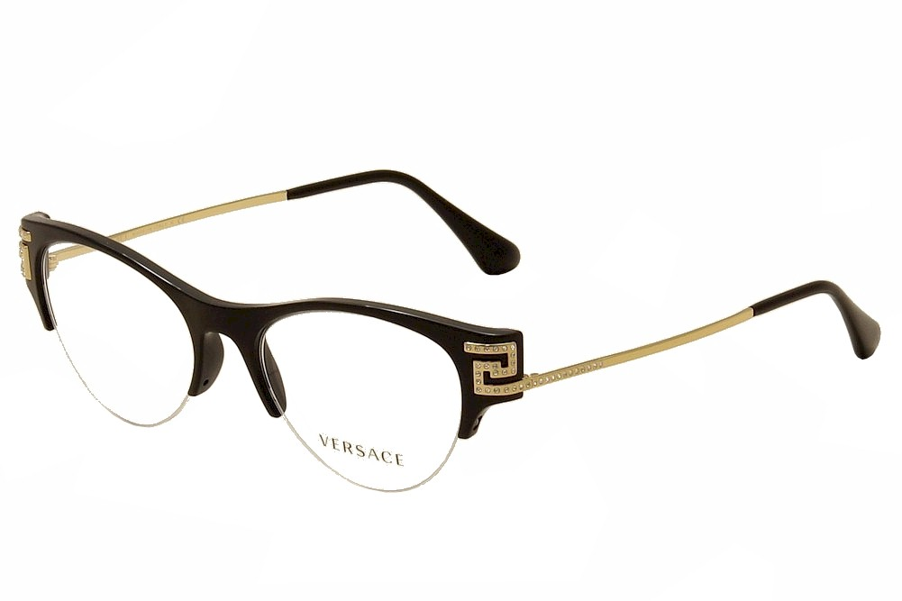 Versace Women\'s Eyeglasses VE 3226B 3226/B Half Rim Optical Frame