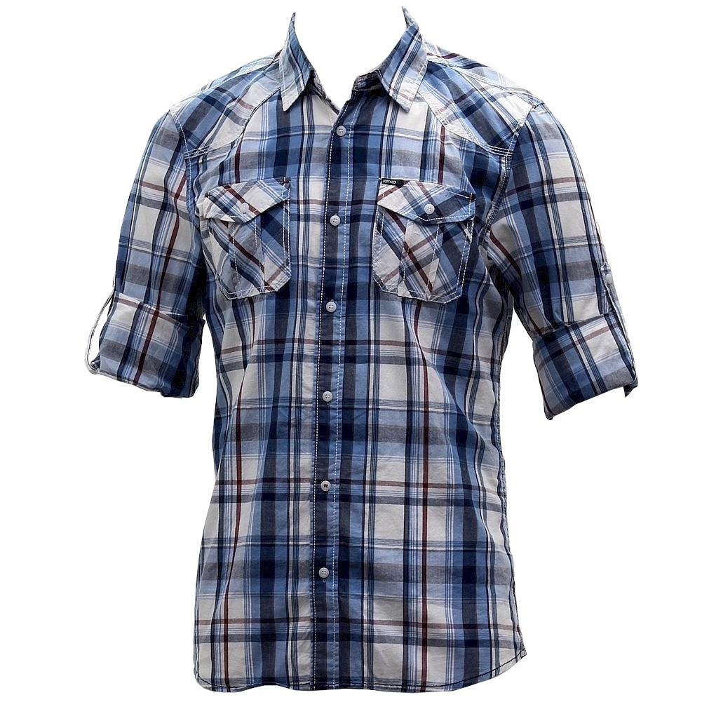 Image of Buffalo Blue Men's Sampson Woven Cotton Long Sleeve Button Down Plaid Shirt - Blue - Large