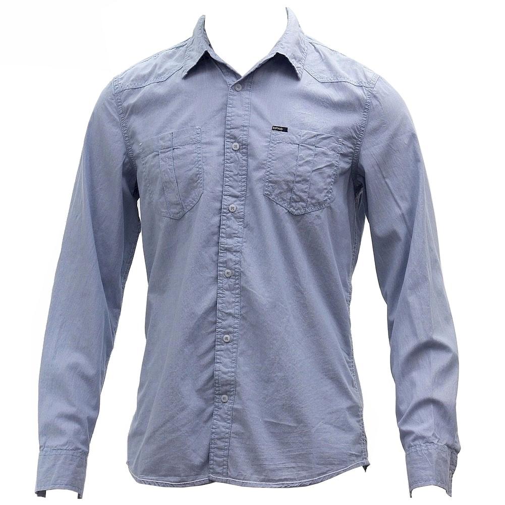 Image of Buffalo Blue Men's Sanler Cotton Long Sleeve Button Down Striped Shirt - Blue - Large