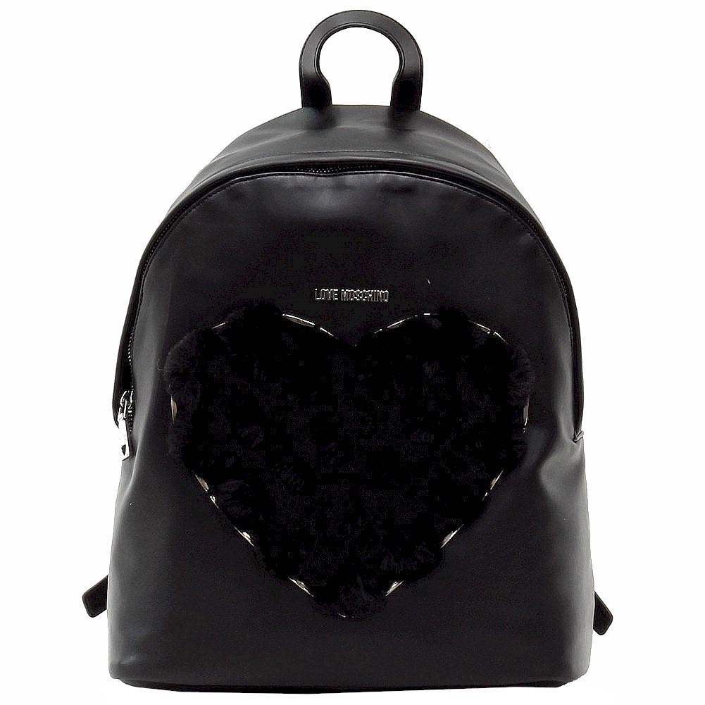 Love Moschino Women's Fur Heart Book Bag Backpack