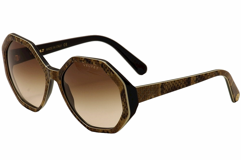 Image of Velvet Eyewear Women's Jami V009 V/009 Fashion Sunglasses - Boa/Beige/Black/Brown Fade   BO01 - Lens 58 Bridge 18 Temple 135mm