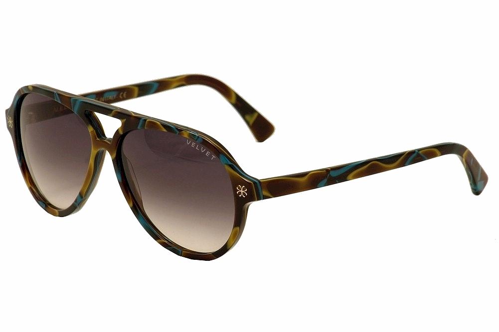 Image of Velvet Eyewear Women's Ava V015 V/015 Retro Pilot Sunglasses - Turquoise - Lens 56 Bridge 15 Temple 135mm
