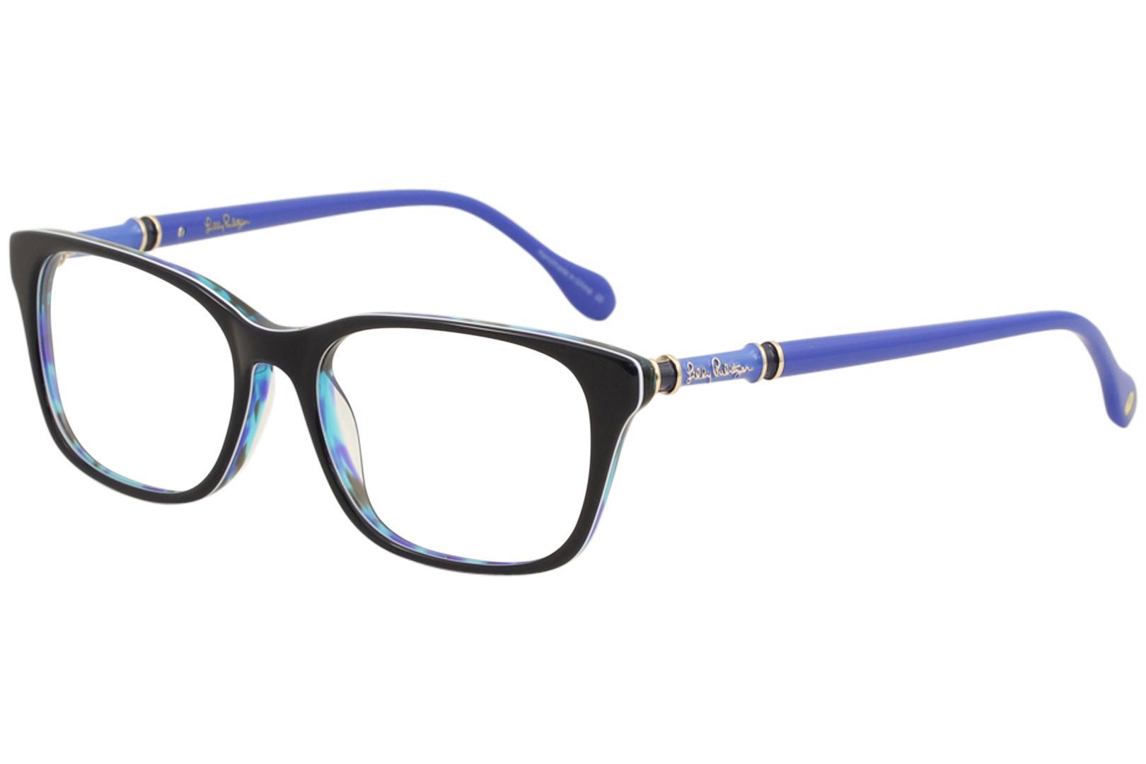 Image of Lilly Pulitzer Women's Eyeglasses Bailey Full Rim Optical Frame - Sky Tortoise   Sk - Lens 52 Bridge 16 Temple 140mm