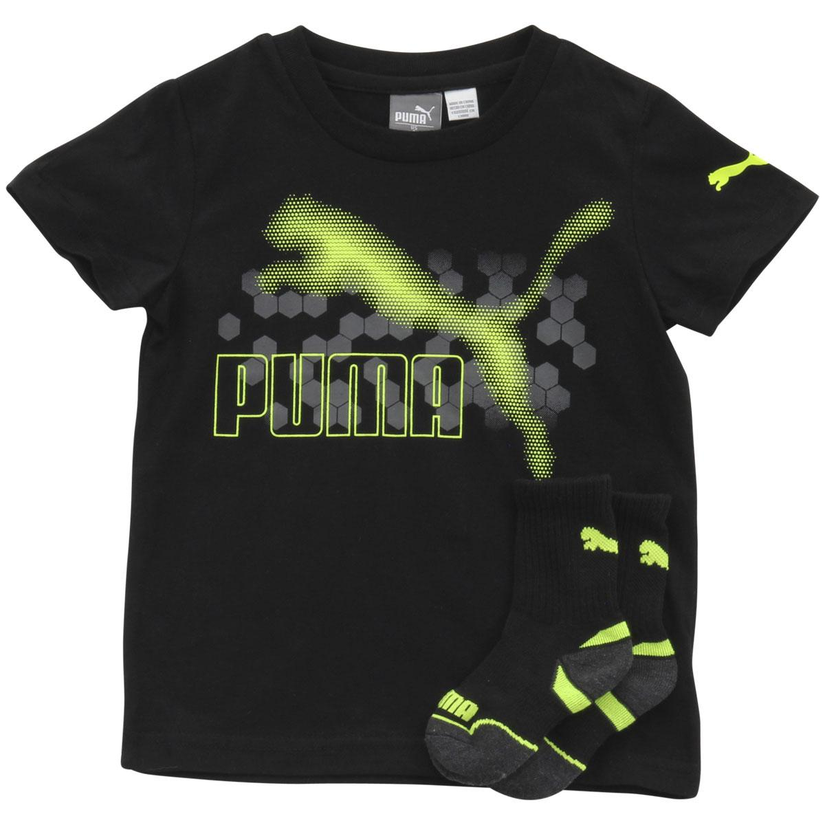 Image of Puma Little Boy's 2 Piece Hexagon Dot Short Sleeve T Shirt & Socks Set - Black - 4