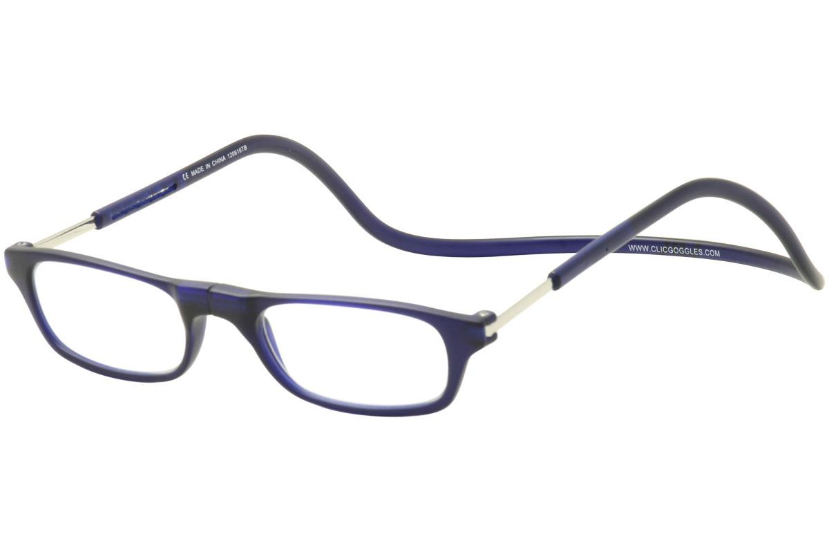 Image of Clic Reader Eyeglasses Original Frosted Reflex Magnetic Reading Glasses - Blue - Strength: +1.25