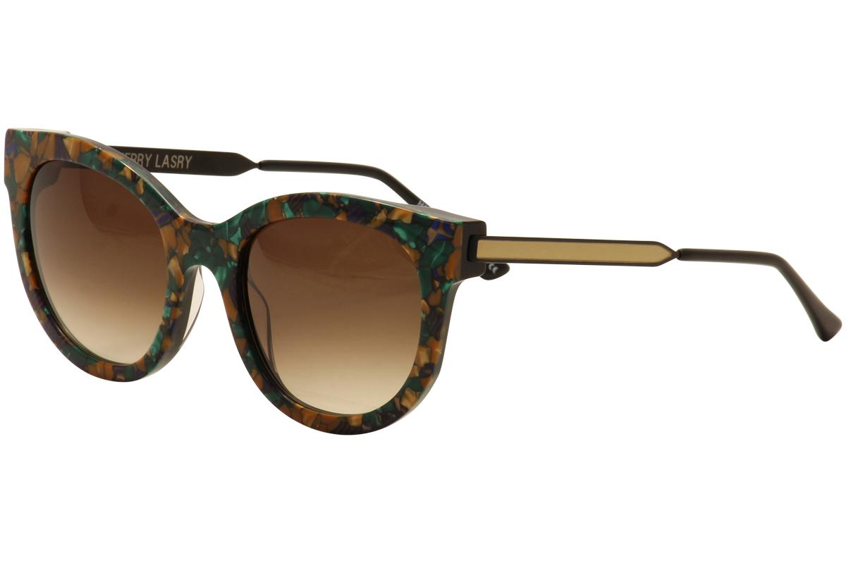 Image of Thierry Lasry Women's Lively Cat Eye Fashion Sunglasses - Floral Green Multi Matte Gold/Brown Gradient   V45 - Lens 56 Bridge 21 Temple 140mm