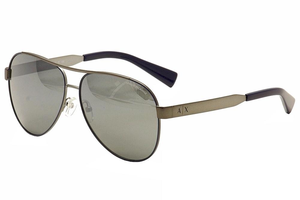 Image of Armani Exchange Men's AX 2018/S 2018S Pilot Sunglasses - Matte Gunmetal/Navy/Blue Silver Mirror   6046/6G - Lens 59 Bridge 12 Temple 140mm