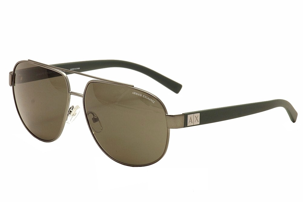 Image of Armani Exchange Men's AX 2019/S 2019S Pilot Sunglasses - Matte Gunmetal/Green/Brown   6088/73 - Lens 60 Bridge 13 Temple 140mm