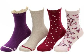Stride Rite Toddler/Little Girl's 4-Pairs Meadow Macy Pattern Crew Sock