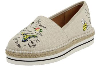 Love Moschino Women's I Love You Natural Canvas Slip-On Loafers Shoes UPC: