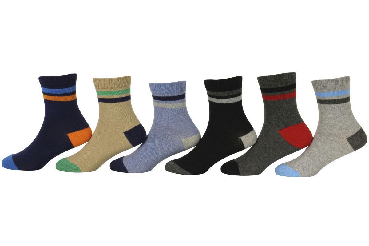 Image of Jefferies Socks Toddler/Little Boy's 6 Pairs Multi Stripe Crew Socks - Multi - Small; Fits Shoe 9 1 (Little Kid)