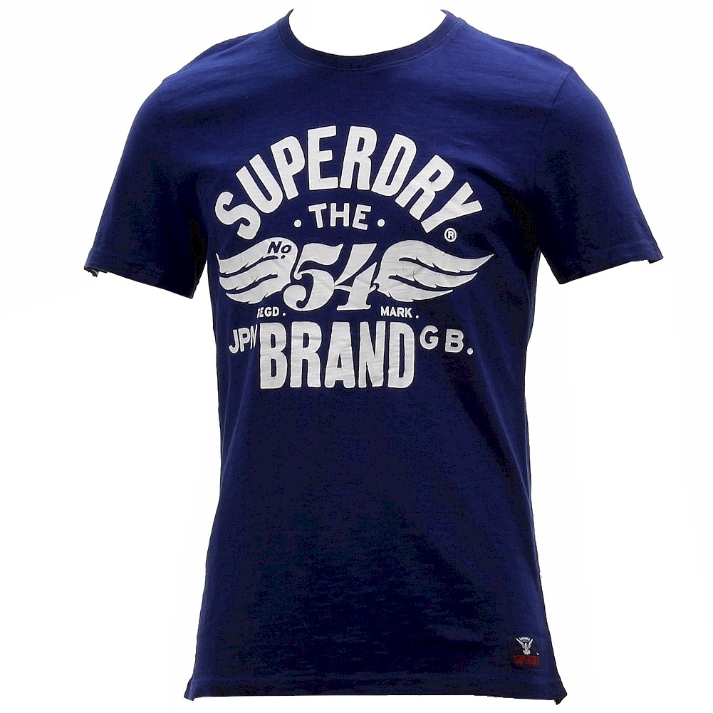 Image of Superdry Men's 54 Brand Cold Dye Crew Neck Graphic Cotton Short Sleeve T Shirt - Blue - X Large