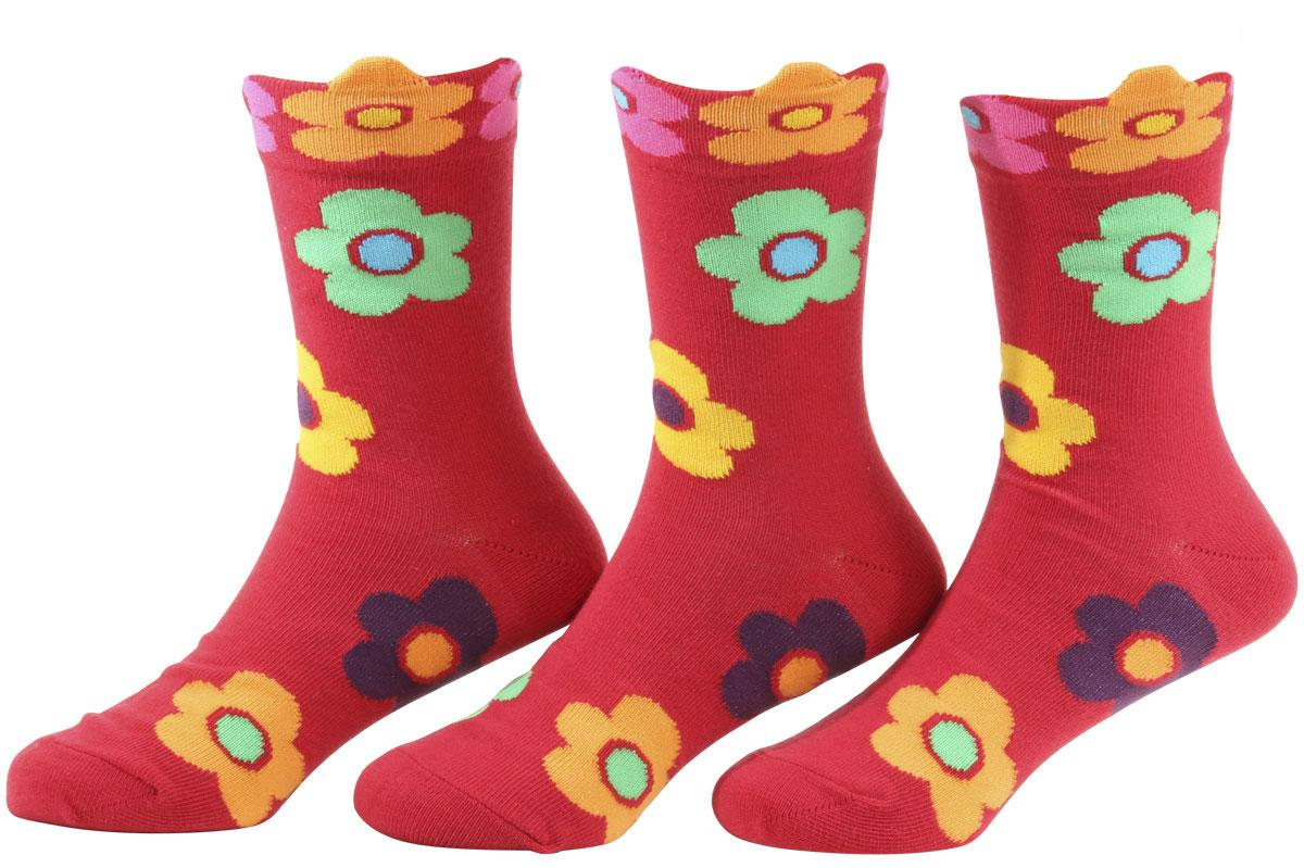 Image of Country Kids Girl's 3 Pairs Daisy Crew Socks - Red - Sock 8 9; Fits Shoe 12 6 (Little Kid)