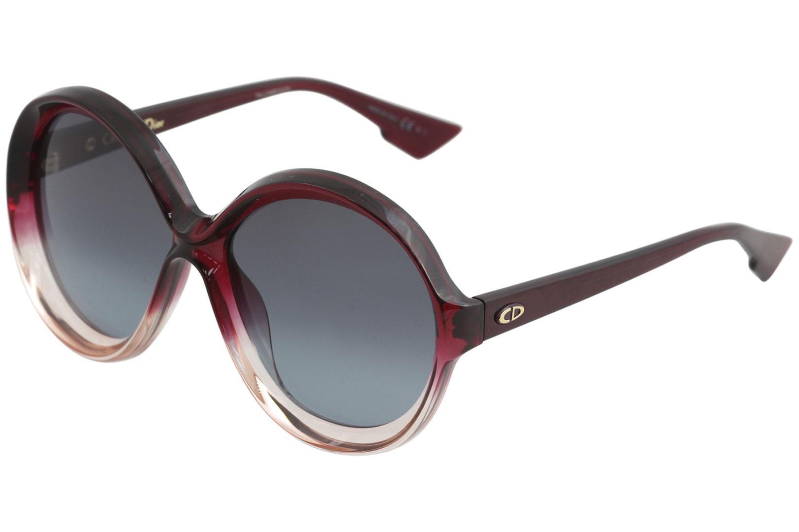 Image of Christian Dior Women's DiorBianca Fashion Round Sunglasses - Red - Lens 56 Bridge 15 Temple 145mm