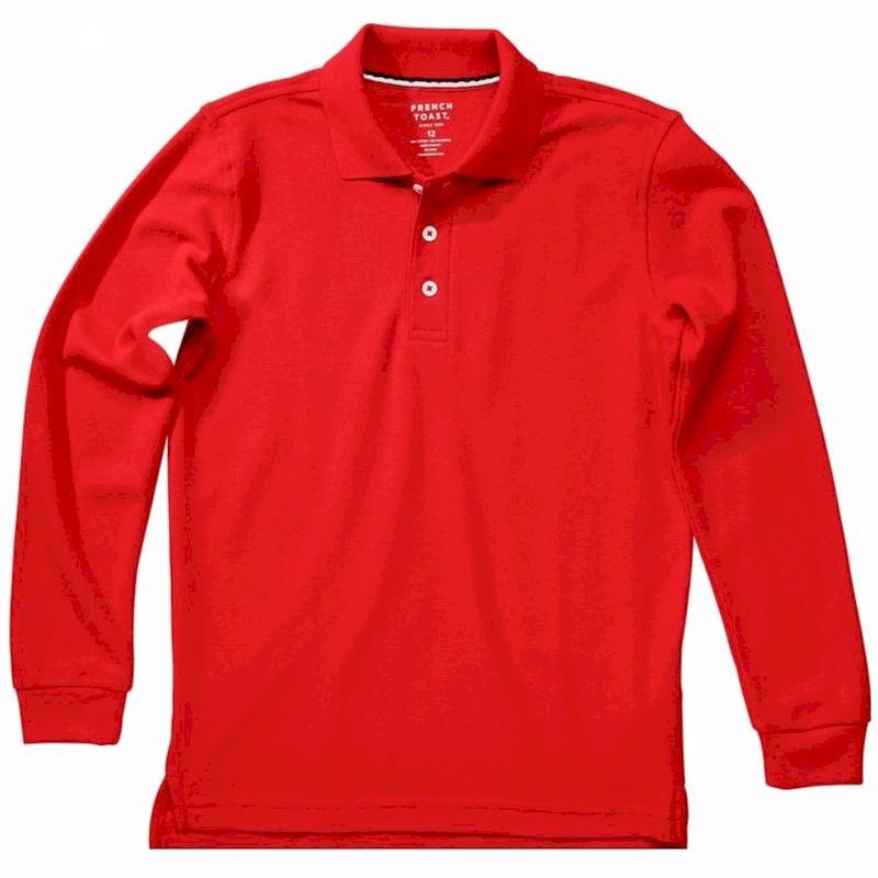 French Toast Toddler Boy s Long Sleeve Pique Polo Uniform Shirt