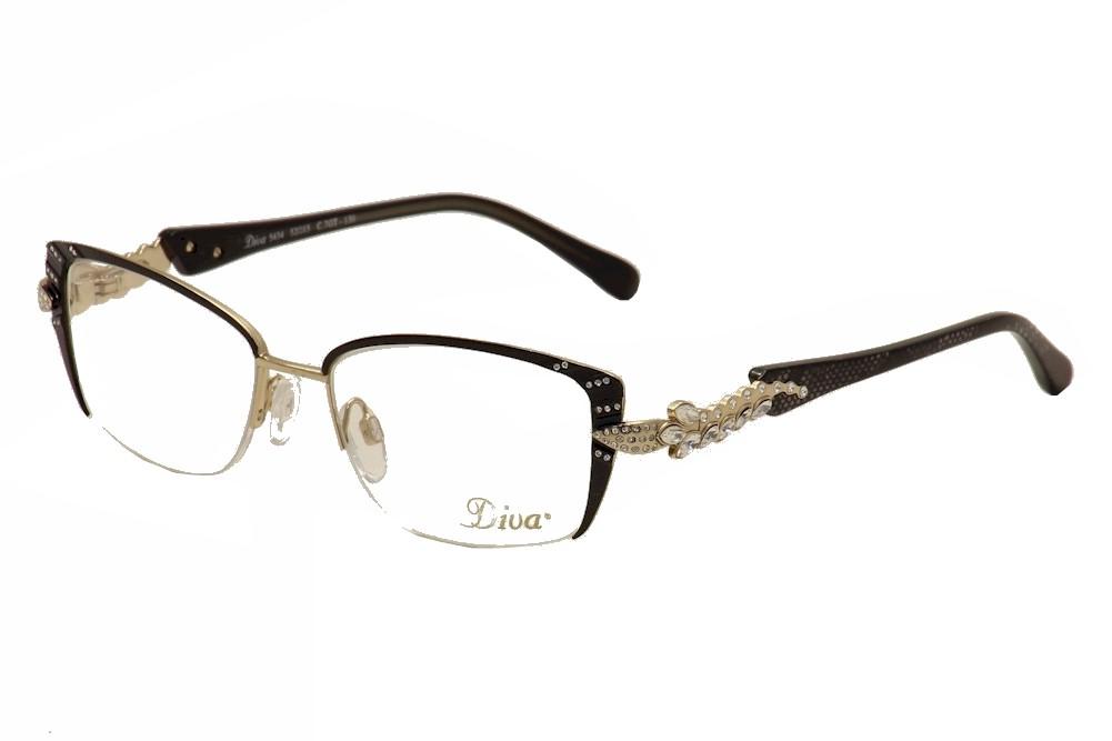 Image of Diva Women's Eyeglasses 5434 Half Rim Optical Frame - Black - Lens 52 Bridge 15 Temple 130mm