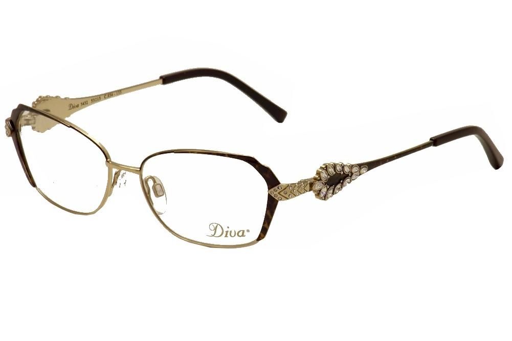 Image of Diva Women's Eyeglasses 5432 Full Rim Optical Frame - Brown - Lens 53 Bridge 15 Temple 135mm