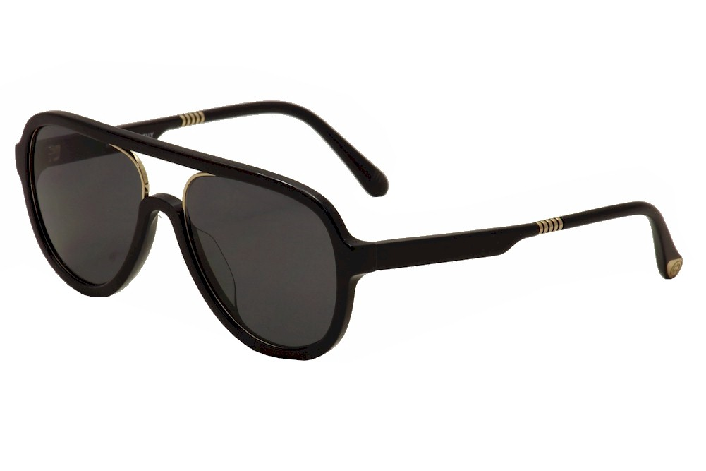 Image of ill.i By will.i.am Men's WA 519S 519/S Pilot Sunglasses - Black/Gold/Grey   01 - Lens 58 Bridge 18 Temple 150mm