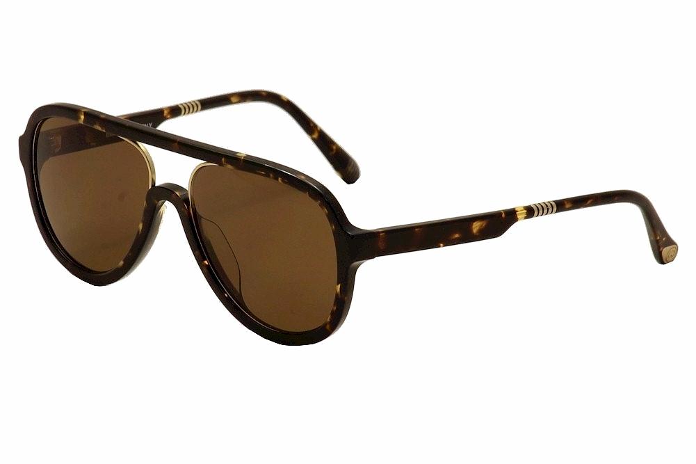 Image of ill.i By will.i.am Men's WA 519S 519/S Pilot Sunglasses - Tortoise/Gold/Brown   03 - Lens 58 Bridge 18 Temple 150mm