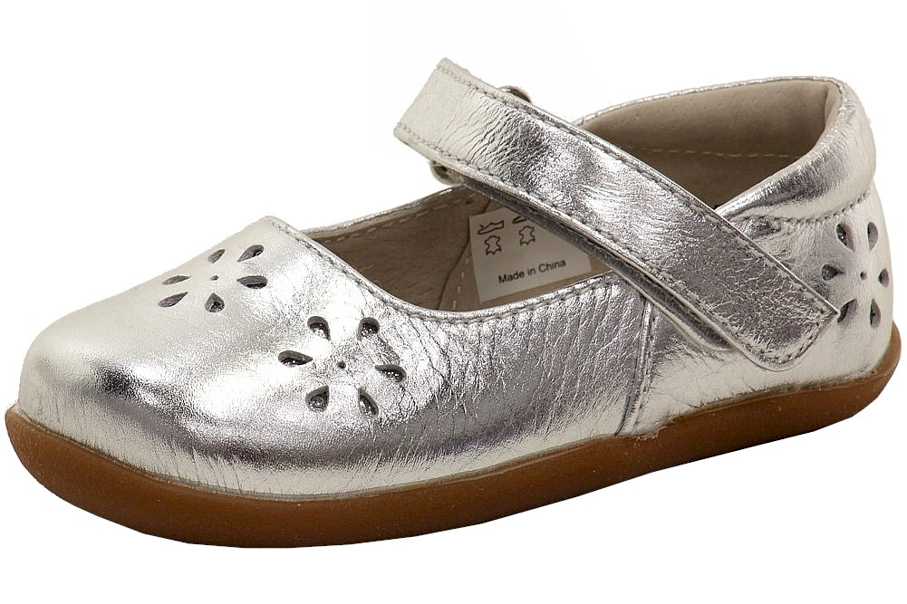 Image of See Kai Run Girl's Ginger II Fashion Mary Janes Shoes - Silver - 3 M US Infant