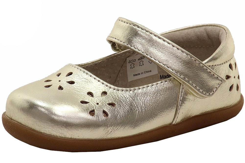 Image of See Kai Run Girl's Ginger II Fashion Mary Janes Shoes - Gold - 3 M US Infant