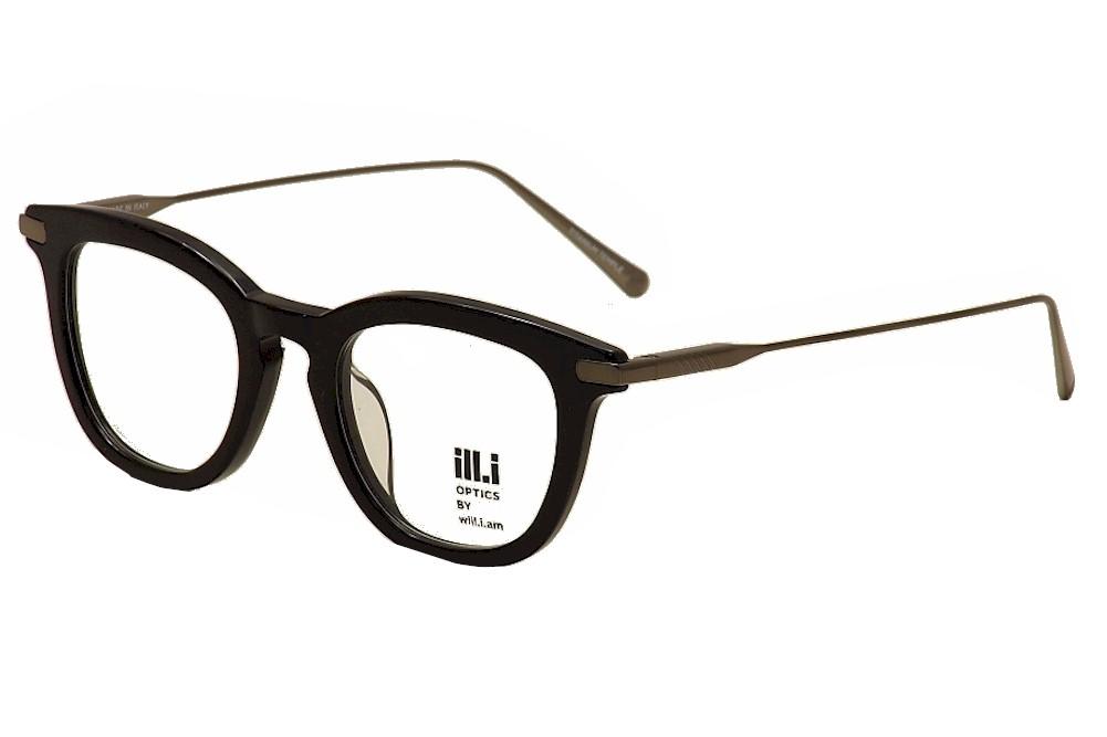 Image of ill.i By will.i.am Men's Eyeglasses WA 009V 009/V Full Rim Optical Frame - Black - Lens 48 Bridge 21 Temple 150mm