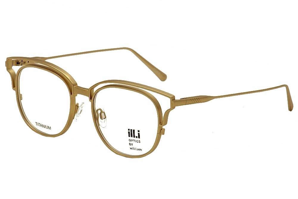 Image of ill.i By will.i.am Men's Eyeglasses WA 529V 529/V Titanium Full Rim - Gold - Lens 51 Bridge 18 Temple 150mm
