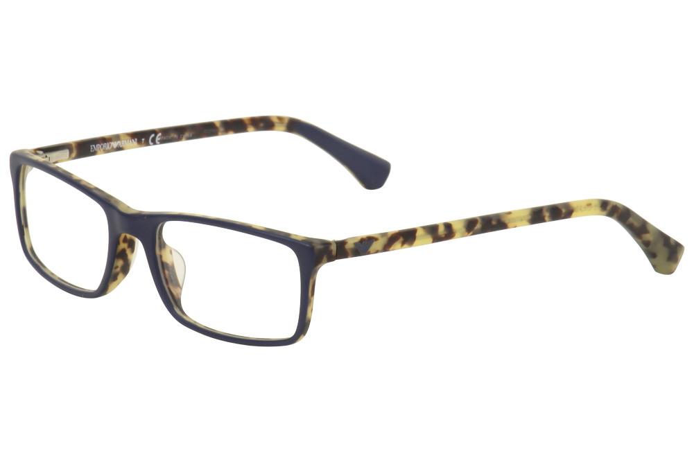Image of Emporio Armani Eyeglasses EA 3034F 3034/F Full Rim Optical Frame (Asian Fit) - Blue - Lens 54 Bridge 18 Temple 140mm