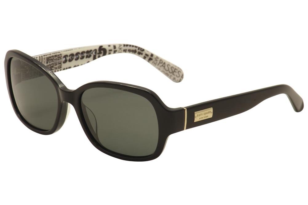 Image of Kate Spade Women's Akira/P/S Fashion Sunglasses - Black/White/Gold/Gray Polarized   W08P/RA - Lens 54 Bridge 17 Temple 130mm